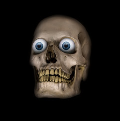 A scary human skull with blue eyes on a black background.