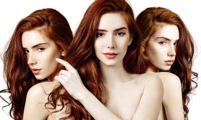 Collage of sensual redhead woman with perfect skin.