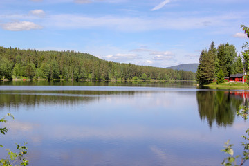 Canvas Prints Lake Peaceful lake in Scandinavia