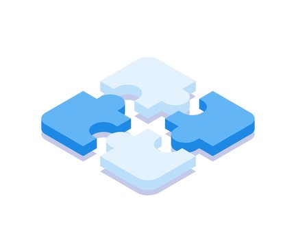 Puzzle icon. Vector illustration in flat isometric 3D style.