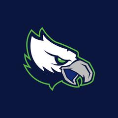 Modern professional logo for sport team. Eagle mascot. Eagles, vector symbol on a dark background.