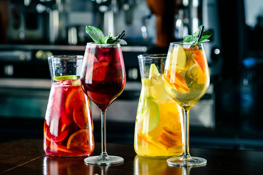 sangria with red and white wine Summer alcohol drink and ingredients.