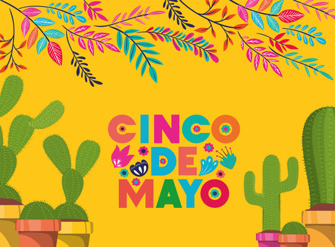 cinco de mayo card with flowers and cactus