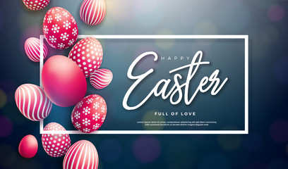 Happy Easter Illustration with Red Painted Egg and Typography Letter on Black Background. International Holiday Celebration Vector Design for Greeting Card, Party Invitation or Promo Banner.