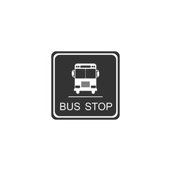 Bus stop sign isolated. Flat design. Vector Illustration