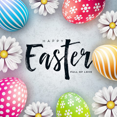 Happy Easter Illustration with Colorful Painted Egg and Spring Flower on White Background. International Holiday Celebration Vector Design with Typography Letter for Greeting Card, Party Invitation or