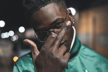 Guy handsome African American black gesture middle finger