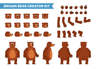 Brown bear creation set. Various gestures, emotions, diverse poses, views. Create your own pose, animation. Flat style vector illustration