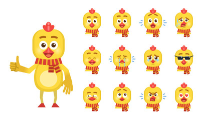 Set of cartoon chicken character emoticons. Chicken avatars showing different facial expressions. Happy, sad, cry, surprised, tired, angry, in love and other emotions. Vector illustration