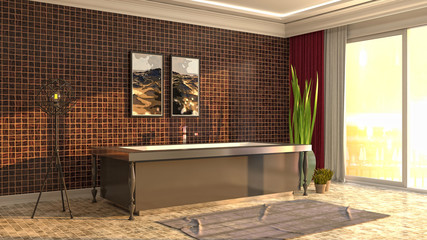 Bathroom interior. 3D illustration Wall mural