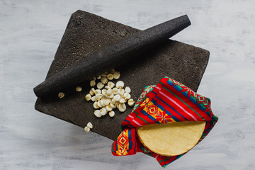 Traditional metate used to make maize flour for tortillas, pre-hispanic food