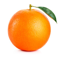 Wall Mural - single ripe orange fruit with leaf isolated on white background