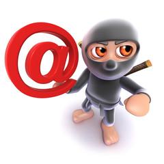 Funny cartoon 3d Ninja assassin character holding an email address symbol