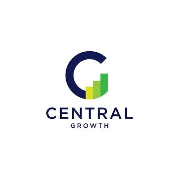 c letter logo chart bar statistic vector icon illustration