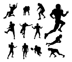 A set of detailed silhouette American Football players in lots of different poses