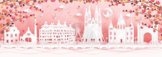 Wall Mural - 6 au barAutumn in Barcelona, Spain with falling maple leaves and world famous landmarks in paper cut style vector illustration