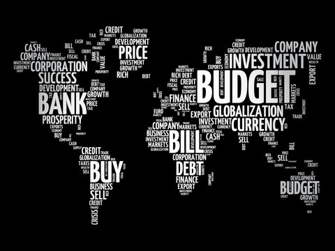 Business and Invest word cloud in shape of world map, finance concept background