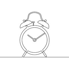 Alarm clock continuous one line drawing. Black and white sketch vector illustration.