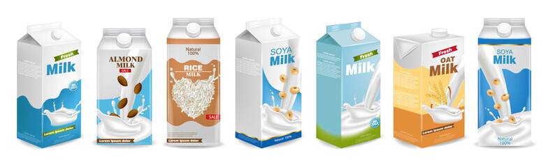 Fototapeta Milk boxes set Vector realistic. Collection of regular milk, oats, soy, rice and almond milk. Realistic 3d illustration sets