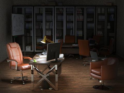 modern office interion evening 3d illustration