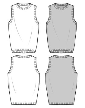 SWEATER VEST fashion flat sketch template