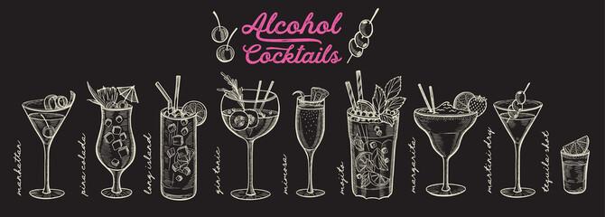 Fototapeta Cocktail illustration, vector hand drawn alcohol drinks obraz