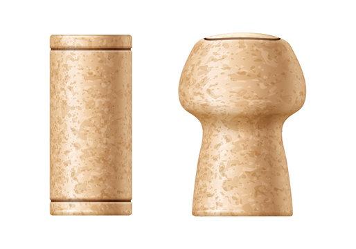 Wine and champagne corks set vector illustration.