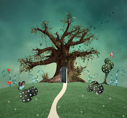 Magic tree with open door in the enchanted green garden - 3D and digital painted illustration