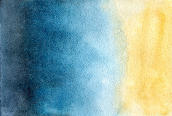 illustration watercolor abstract background sea ocean beach sand. smooth gradient transition from indigo, turquoise, blue, yellow, brown. hand drawn