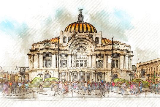Ilustración acuarela del museo de bellas artes en Ciudad de México