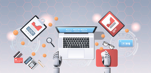 crypto currency trading bot block chain concept bitcoin mining robotic hands using laptop at workplace desk top angle view office stuff flat horizontal