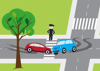 Car accident - vector illustration