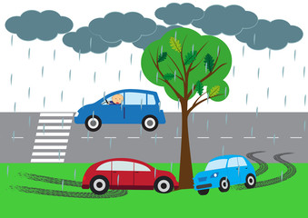 Car accident elements - vector illustration