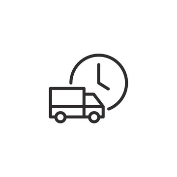 Fast shipping express delivery truck with clock. Line icon design. Vector illustration for apps and websites.