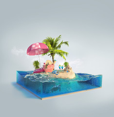 Travel and vacation background. 3d illustration with cut of the sea and beautiful island. Baby island isolated on white.