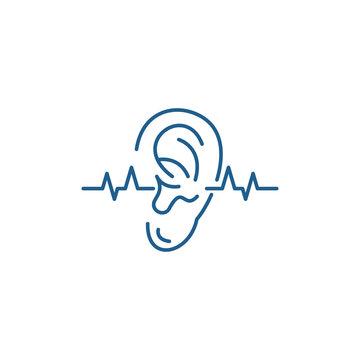 Hearing test line concept icon. Hearing test flat  vector website sign, outline symbol, illustration.