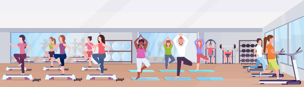 mix race people doing exercises men women working out together training in gym group classes workout healthy lifestyle concept modern health club studio interior horizontal banner vector illustration