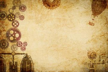 steampunk machine n gears paper background