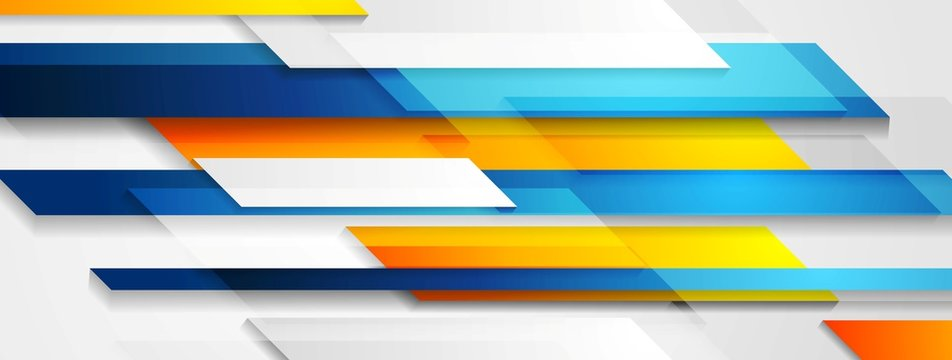 Bright technology geometric abstract banner design