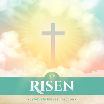 Christian religious design for Easter celebration. Square vector banner with text: He is risen, shining Cross and heaven with white clouds.
