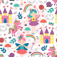 seamless pattern with  fairy characters - vector illustration, eps