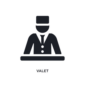 black valet isolated vector icon. simple element illustration from hotel and restaurant concept vector icons. valet editable logo symbol design on white background. can be use for web and mobile