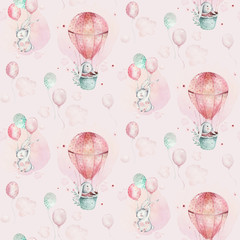 A watercolor spring illustration of the cute easter baby bunny. Rabbit cartoon animal seamless pink pattern with balloon