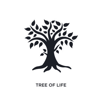 black tree of life isolated vector icon. simple element illustration from religion concept vector icons. tree of life editable logo symbol design on white background. can be use for web and mobile