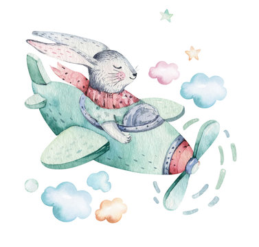 Hand drawing fly cute easter pilot bunny watercolor cartoon bunnies with airplane in the sky. Turquoise watercolour animal rabbit flying art flight illustration
