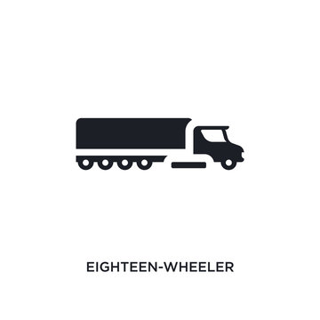 black eighteen-wheeler isolated vector icon. simple element illustration from transportation concept vector icons. eighteen-wheeler editable logo symbol design on white background. can be use for