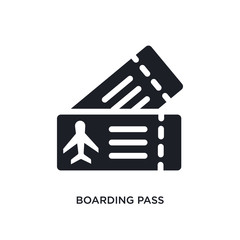 black boarding pass isolated vector icon. simple element illustration from travel concept vector icons. boarding pass editable logo symbol design on white background. can be use for web and mobile