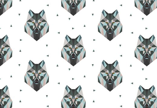 Seamless wolf head geometric pattern. Animal portrait with triangles on white background. Vector low poly illustration of wolfs in polygonal style