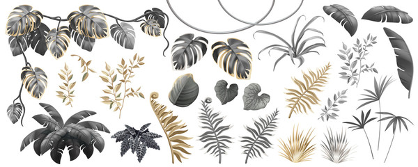 Set dark, gold and silver leaves of tropical exotic plants. Elements palm trees and lianas. Vector isolated 3d illustration. Wall mural