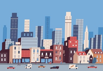 Fototapete - Big city life. Panoramic view of modern downtown with urban buildings, skyscrapers, transport on road and pedestrians walking along sidewalk. Colorful vector illustration in flat cartoon style.